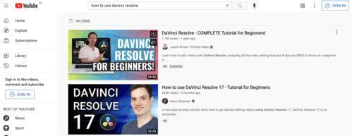 Websites-For-Content-Creators-YouTube-DaVinci-Resolve